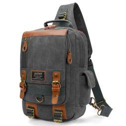 13 Inch Crossbody Bags Leather Messenger Chest Bag Pack Slin