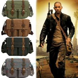 "14"" Men Messenger Bag Vintage Canvas Leather Military Should"