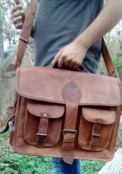"""15"""" 16"""" 17"""" Bag Leather Messenger Shoulder Briefcase Men Lap"""