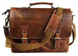 "15.5"" Rugged Handcrafted Leather Messenger Bag 