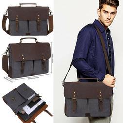 15.6'' Canvas Messenger Bag Casual Briefcase Laptop School S