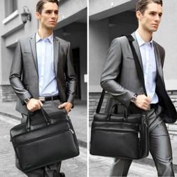 """15.6"""" Men's PU Leather Vintage Black Messenger Shoulder Lapt"""