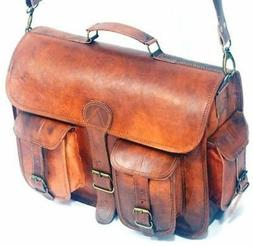 "15"" Genuine Vintage Style Leather Hand Bag Laptop Briefcase"