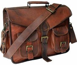 """15"""" Leather messenger bag laptop bag computer case shoulder"""