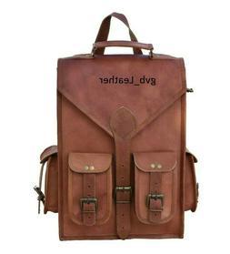 "15"" To 18"" Men's Vintage Leather Satchel Laptop Backpack Ruc"