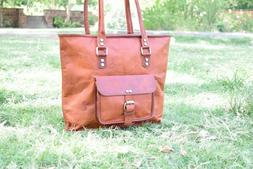 "16"" Women's Vintage Genuine Leather Handbag Purse Travel Tot"