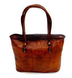 "16"" Women's Vintage Italian Leather Handbag Purse Travel Tot"