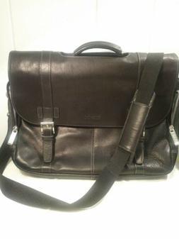 17 Inch Kenneth Cole Reaction Black Leather Messenger Bag Wi