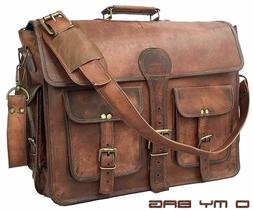 """18"""" Briefcase High Quality Genuine Leather Laptop Messenger"""