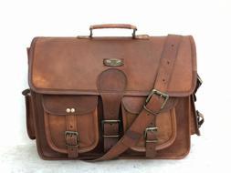"""18"""" Men's Leather Messenger Shoulder Separate Laptop Comport"""