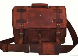 "18"" Vintage Briefcase Satchel Soft Leather Laptop Messenger"