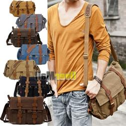 2018 Men's Vintage Canvas Leather Satchel School Military Sh
