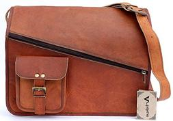 "2018 Hot Sale ! Vintage Brown 15"" leather messenger bag for"