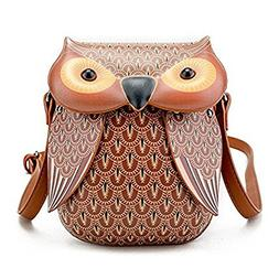 3D Owl Design Leather Crossbody Shoulder Bag Adjustable Mess