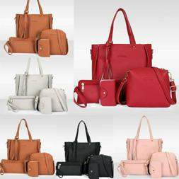 4PCS/Set Women Leather Tote Bag Handbag Purse Shoulder Messe