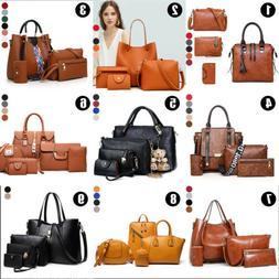 4pcs Women Fashion Leather Handbag Shoulder Bag Tote Purse M