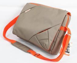 Bipra 15.6 Inch Laptop Messenger Bag Grey/Orange Design