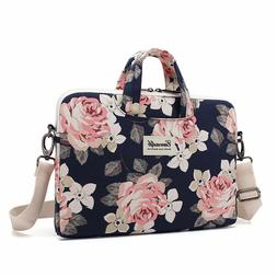 Canvaslife White Rose Canvas Laptop Shoulder Messenger Bag S