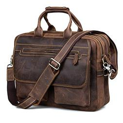 Kattee Crazy Horse Leather Briefcase Shoulder Business Lapto