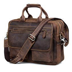 Kattee Crazy Horse Leather Briefcase Shoulder Business Lapto