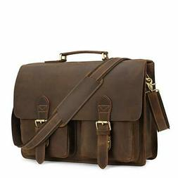 Kattee Handmade Genuine Leather Laptop Briefcase Messenger B