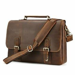 "Kattee Men's Crazy Horse Leather Satchel Briefcase, 14"" Lapt"