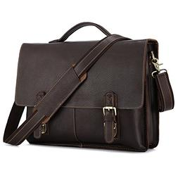 Kattee Men's Twin Buckle Genuine Leather Messenger Bag