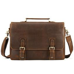 Kattee Men's Vintage Genuine Leather Briefcase Messenger Bag
