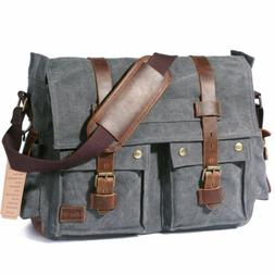 17 inch Men's Messenger Bag School Shoulder Vintage Crossbod