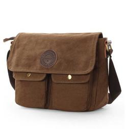 Men's Canvas Cross Body Bag Messenger Shoulder Book Bags Sch