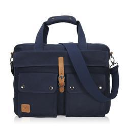 Mens Canvas Briefcase 17-inch Laptop Messenger Bag Carry on