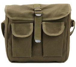 OD Green Military Style Ammo Bag 2 Pocket Messenger Bag Shou