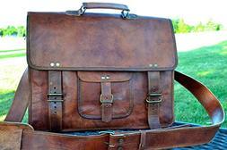 300e82ed08 PL 16 Inch Vintage Leather Messenger Bag Briefcase Fits upto
