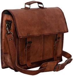 PL 18 Inch Vintage Handmade Leather Messenger Bag for Laptop