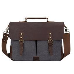 S-ZONE Fashion Canvas Genuine Leather Trim Travel Briefcase