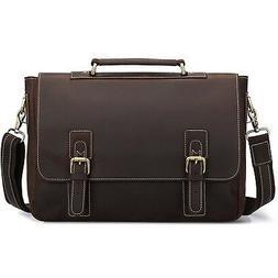 S-ZONE Men's Crazy Horse Leather Satchel Briefcase Shoulder