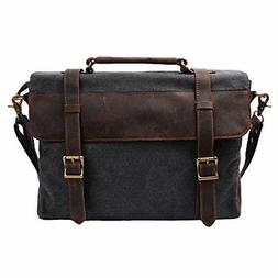 aa0e19d865 S-ZONE Vintage Canvas Genuine Leather Messenger Traveling Br
