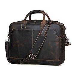 Polare Men's Sturdy Genuine Leather 16'' Laptop Bag Briefcas