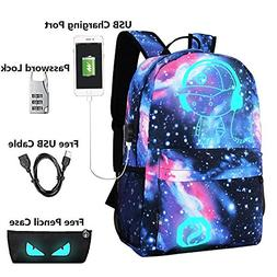 Lmeison Anime Cartoon Luminous Backpack with USB Charging Po