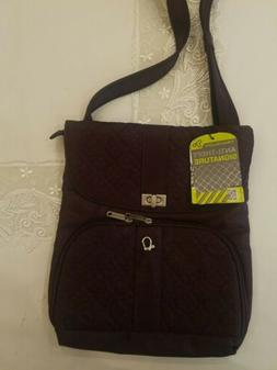 Travelon Anti-theft Signature Messenger Bag Eggplant color