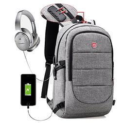 Anti-Theft Men Backpack with Usb Port Grey Laptop Backpack B