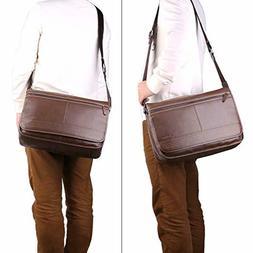 Banuce Vintage Leather 13 Inch Laptop Messenger Bag for Men