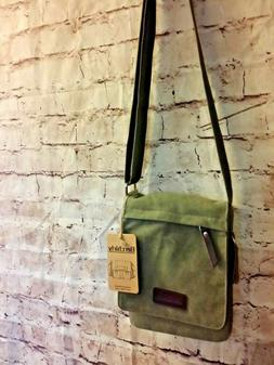 Berchirly Cross Body Bag Purse Expandable Green Canvas Leath