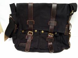 Berchirly Vintage Military Men Black Canvas Messenger Bag fo