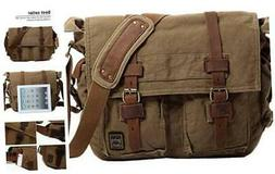 Berchirly Vintage Military Men Canvas Messenger Bag for 13.3