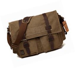 Berchirly Vintage Military Men Canvas Messenger Bag for 14.7