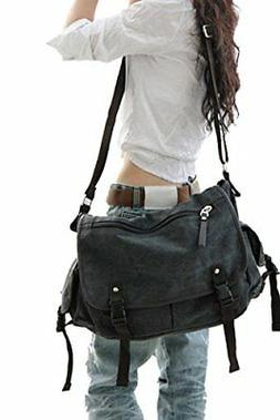 Big Vintage Canvas Messenger Bag Book Laptop Shoulder School