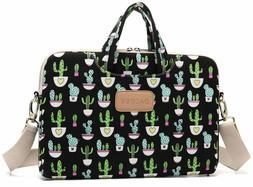 Dachee Black Cactus Patten Canvas Laptop Shoulder Messenger