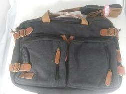 Coolbell Black Convertible Backpack Messenger Bag Canvas Up