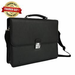 DEERLUX Men's Leather Laptop Briefcase, Black, One Size